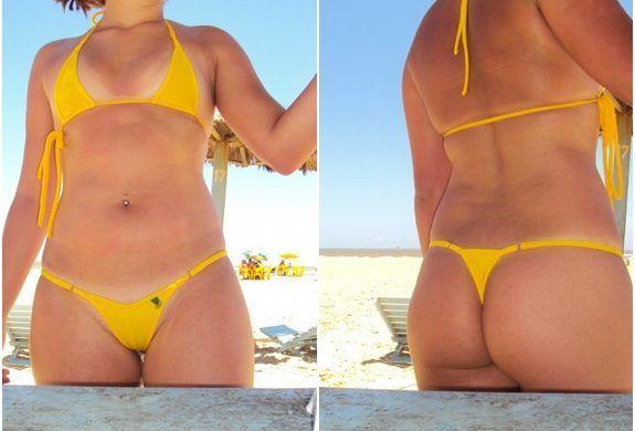 Minha esposa de biquíni na praia