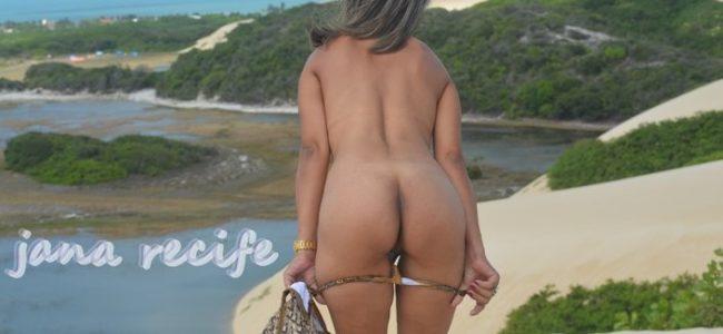 Esposa da bunda gostosa em fotos peladas na praia